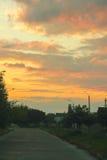 Nascer do sol na estrada Fotos de Stock