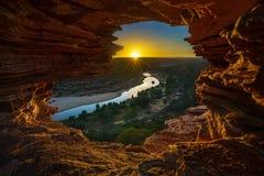 Nascer do sol na janela das naturezas no parque nacional do kalbarri, Austrália Ocidental 13 foto de stock royalty free
