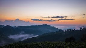 Nascer do sol na montanha em Doi Mae Salong Mae Fah Luang, Chiang Rai Thailand fotos de stock royalty free