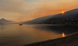 Nascer do sol na praia de Frankton Imagem de Stock Royalty Free