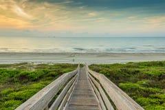 Nascer do sol na praia, porto Aransas Texas Imagem de Stock Royalty Free