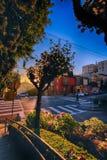 Nascer do sol na rua do Lombard no monte do russo, San Francisco, Califo Imagens de Stock
