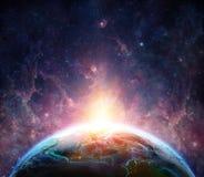 Nascer do sol na terra do planeta ilustração stock
