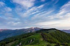 Nascer do sol nas montanhas Carpathian Fotos de Stock Royalty Free