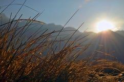 Nascer do sol nas montanhas de Himalaya Imagem de Stock