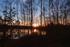 Nascer do sol natural do por do sol sobre o campo/lago foto de stock