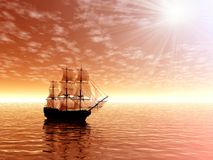 Nascer do sol. Navio de navigação ilustração do vetor