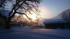 Nascer do sol nevado Fotografia de Stock Royalty Free