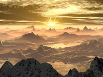 Nascer do sol nevado da montanha imagem de stock royalty free