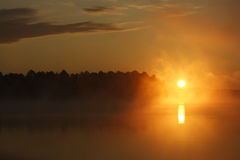 Nascer do sol nevoento do lago Fotos de Stock Royalty Free