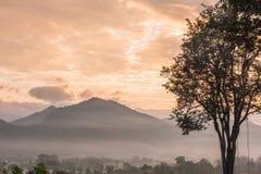 Nascer do sol no balanço da árvore de Mari Pai em Pai, Tailândia Fotografia de Stock