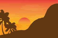 Nascer do sol no campo ilustração do vetor