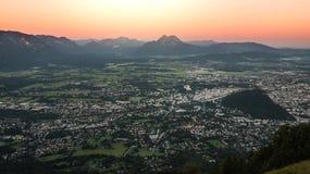 Nascer do sol no Gaisberg em Salzburg, Áustria Imagem de Stock