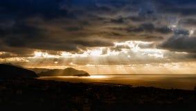 Nascer do sol no golfo de Tigullio Fotografia de Stock Royalty Free