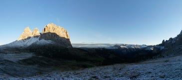 Nascer do sol no grupo da montanha da dolomite em Tirol sul Fotografia de Stock Royalty Free