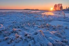Nascer do sol no inverno frio Fotografia de Stock