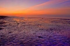 Nascer do sol no litoral do mar imagem de stock royalty free