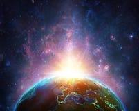 Nascer do sol no planeta da terra ilustração stock