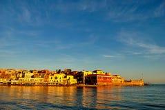 Nascer do sol no porto de Chania na Creta Grécia Imagem de Stock Royalty Free