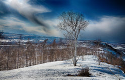 Nascer do sol no rio Amur na primavera Imagem de Stock Royalty Free