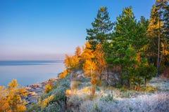 Nascer do sol do outono no rio Ob Sibéria, Rússia fotografia de stock