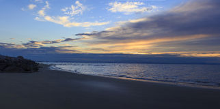 Nascer do sol, praia, Bibione, Itália Imagem de Stock Royalty Free