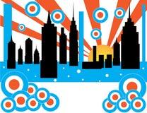 Nascer do sol retro da cidade ilustração royalty free