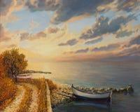 Nascer do sol romântico pelo mar Fotografia de Stock Royalty Free