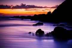 Nascer do sol roxo bonito Imagem de Stock