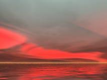 Nascer do sol seriamente vermelho ilustração royalty free