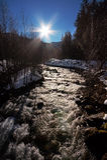Nascer do sol sobre a água foto de stock royalty free