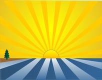 Nascer do sol sobre as águas?. ilustração royalty free