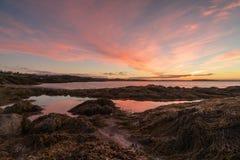 Nascer do sol sobre a baía de Fundy e do oceano Foto de Stock