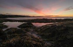 Nascer do sol sobre a baía de Fundy e do oceano Fotografia de Stock