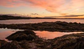 Nascer do sol sobre a baía de Fundy e do oceano Fotos de Stock