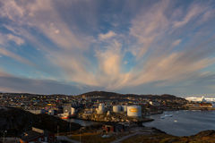Nascer do sol sobre Ilulissat Imagens de Stock