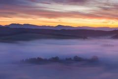 Nascer do sol sobre Misty Landscape Vista cênico do céu nevoento da manhã com aumentação Sun acima de Misty Forest Middle Summer  imagens de stock royalty free