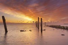 Nascer do sol sobre o mar em Texel, os Países Baixos imagens de stock royalty free