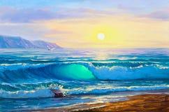 Nascer do sol sobre o mar Seascape da pintura ilustração do vetor