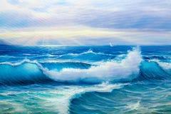 Nascer do sol sobre o mar Seascape da pintura ilustração stock