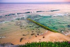 Nascer do sol sobre o oceano Cais de pedra velho coberto de vegetação com as algas Austrália, NSW, Newcastle fotos de stock royalty free