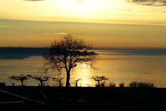 Nascer do sol sobre o passo de Kerch Foto de Stock