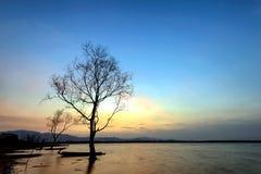 Nascer do sol sobre o rio Fotografia de Stock Royalty Free