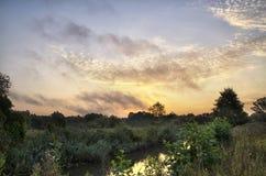 Nascer do sol sobre o rio foto de stock royalty free