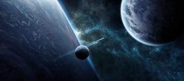 Nascer do sol sobre o sistema distante do planeta no elemento da rendição do espaço 3D ilustração royalty free