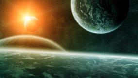 Nascer do sol sobre planetas no espaço ilustração royalty free