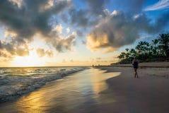 Nascer do sol sobre a praia tropical imagem de stock royalty free