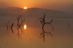 Nascer do sol sobre a represa de Mankwe no parque nacional de Pilanesberg Fotografia de Stock Royalty Free