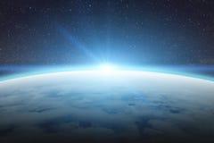 Nascer do sol sobre a terra do planeta no espaço ilustração do vetor