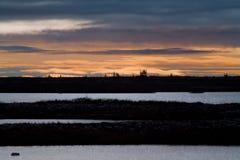Nascer do sol sobre a tundra Fotos de Stock